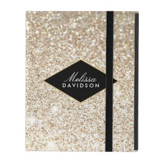 Champagne Gold Glitter and Glamour Personalized iPad Cover