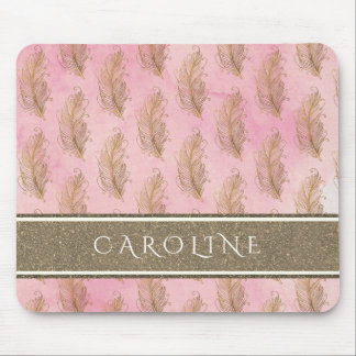 Champagne Gold Glitter Boho Feathers Watercolor Mouse Mat