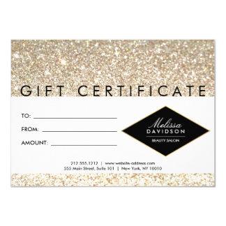 Champagne Gold Glitter Salon Gift Certificate 11 Cm X 16 Cm Invitation Card