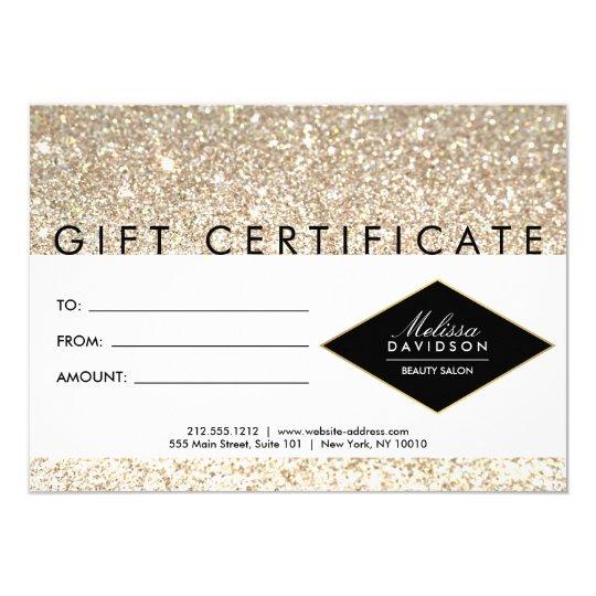 Champagne Gold Glitter Salon Gift Certificate Card