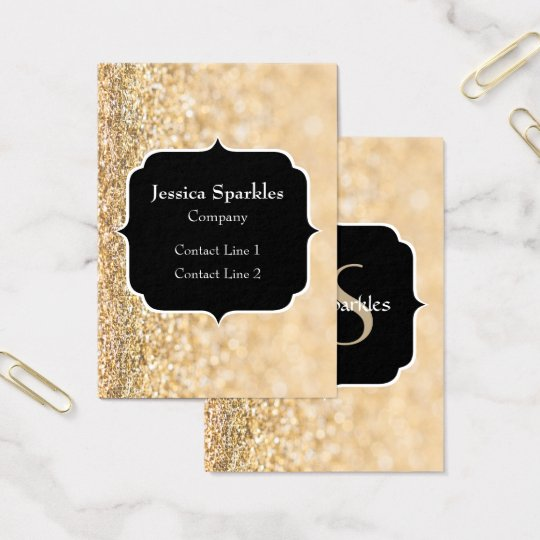 Champagne gold glitter sparkles Monogram Business Card