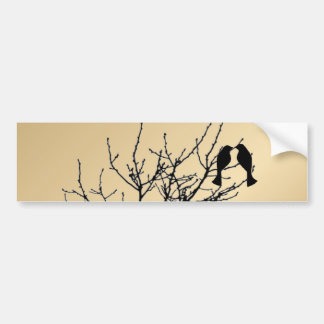 champagne gold LoveBirds Tree Wedding Favor Bumper Stickers