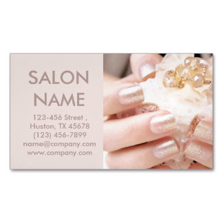 champagne gold nails fashion beauty SPA nail salon Magnetic Business Cards