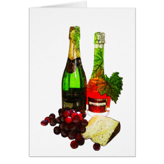 Champagne, grapes and cheese art card
