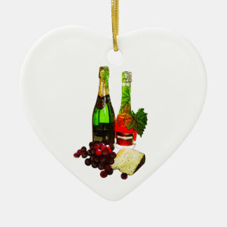 Champagne, grapes and cheese art ceramic heart decoration