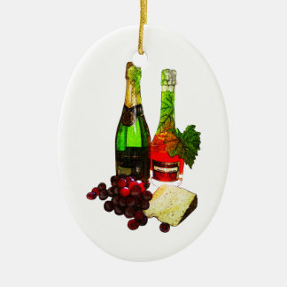 Champagne, grapes and cheese art ceramic oval decoration