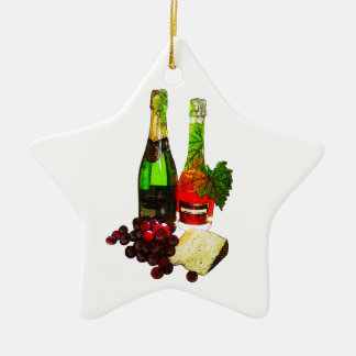 Champagne, grapes and cheese art christmas ornament