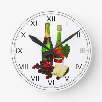 Champagne, grapes and cheese art round clock