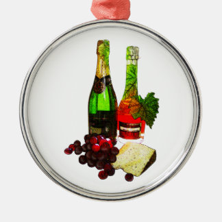 Champagne, grapes and cheese art Silver-Colored round decoration