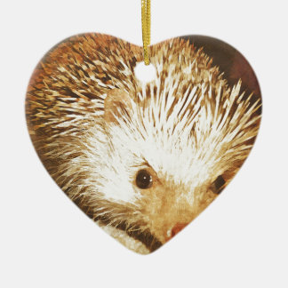 Champagne Hedgehog Digital Vintage Effect Christmas Ornament
