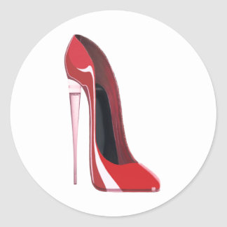Champagne Heel Flute Red Stiletto Art Classic Round Sticker