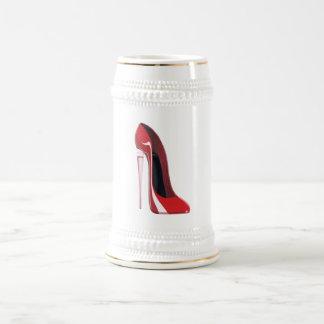 Champagne heel red stiletto shoe art beer stein
