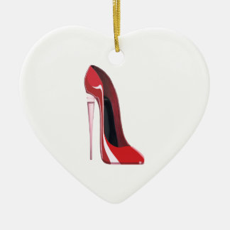 Champagne Heel Red Stiletto Shoe Art Ceramic Heart Decoration