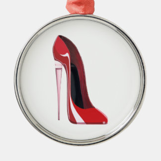 Champagne heel red stiletto shoe art Silver-Colored round decoration