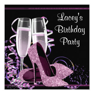 Champagne High Heel Womans Hot Pink Birthday Party 13 Cm X 13 Cm Square Invitation Card