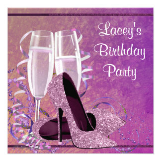 Champagne High Heel Womans Hot Pink Birthday Party Invites