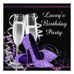 Champagne High Heel Womans Purple Birthday Party Custom Invitations