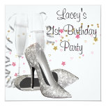 Champagne High Heels 21st Birthday Party 13 Cm X 13 Cm Square Invitation Card
