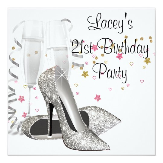 Champagne High Heels 21st Birthday Party Card