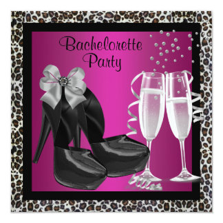 Champagne High Heels Hot Pink Leopard Bachelorette 13 Cm X 13 Cm Square Invitation Card