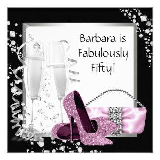 Champagne High Heels Womans Pink Black Birthday Custom Invitation