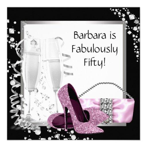 Champagne High Heels Womans Pink & Black Birthday Custom Invitation