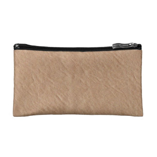 Champagne Leather Surface Minimalist Chic Vegan Cosmetic Bag