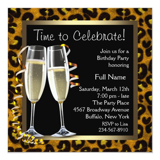 Champagne Leopard Birthday Party Invitations
