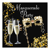 Champagne Mask Black Gold Masquerade Party Seasonal Invitations