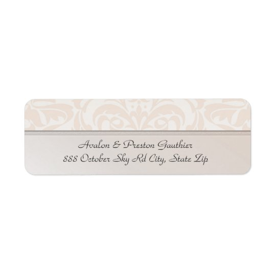 Champagne Metal Damask Wedding Address Label