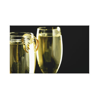 Champagne on Black Stretched Canvas Prints