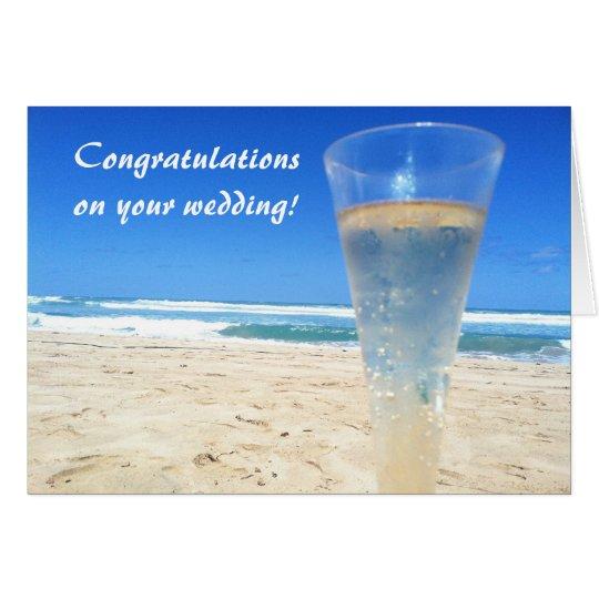 Champagne on the Beach Wedding Card