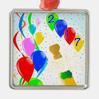 Champagne Party 2017 Silver-Colored Square Decoration