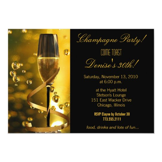 Champagne Party birthday invitation
