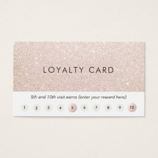 Champagne Pink Glitter Customer Loyalty 10 Punch Business Card
