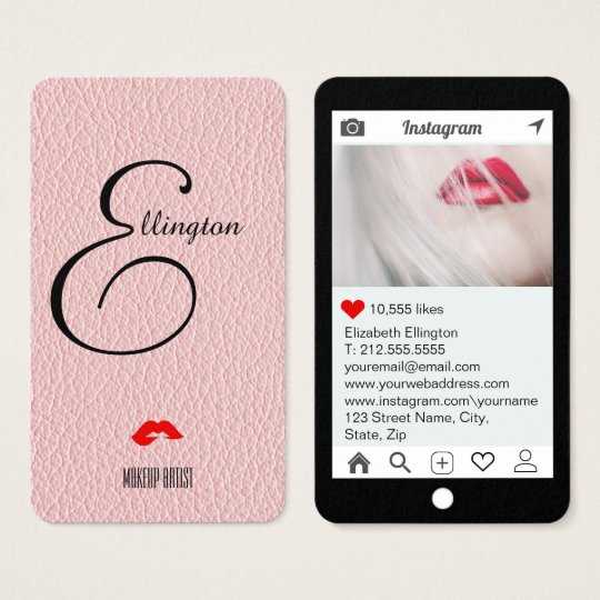 Champagne Pink Mock Leather Instagram Style Business Card
