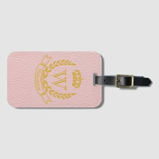 Champagne Pink Mock Leather with Monogram Crest