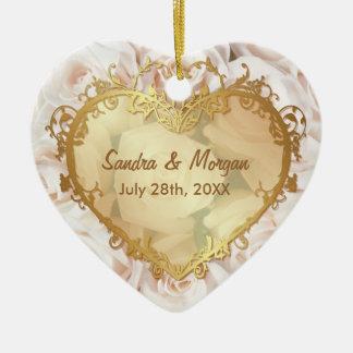 Champagne Pink Rose  Elegance 2 Sided Ceramic Heart Decoration