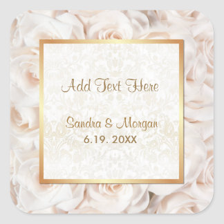 Champagne Pink Rose Elegance Square Sticker