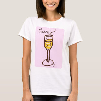 CHAMPAGNE print by Jill, yellow on pink Cheers T-Shirt