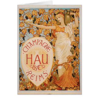 Champagne Reims Vintage Wine Drink Ad Art Card