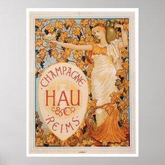 Champagne Reims Vintage Wine Drink Ad Art Poster