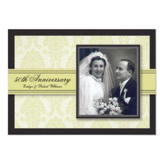 """Champagne Ribbon Damask Anniversary Party Invite 5"""" X 7"""" Invitation Card"""