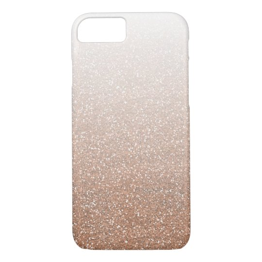 Champagne Rose Gold Faux Glitter Ombre iPhone 7