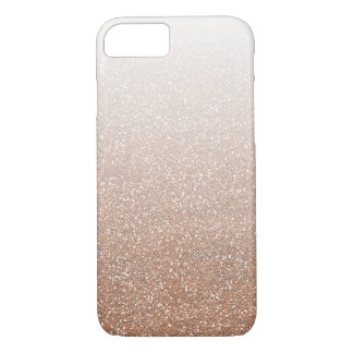 Champagne Rose Gold Faux Glitter Ombre iPhone 8/7 Case
