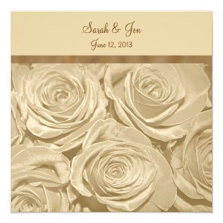 Champagne Roses Formal Wedding Invitation
