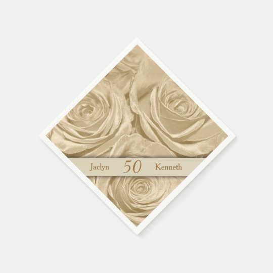 Champagne Roses Golden Wedding Anniversary Disposable Napkin