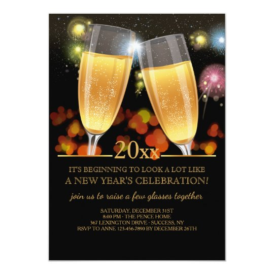 Champagne Salute Holiday Party Invitation