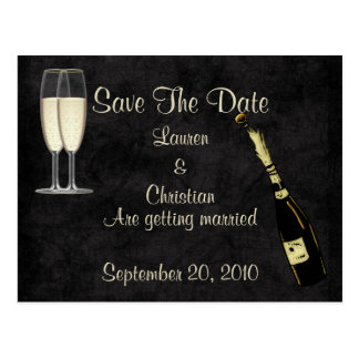 Champagne Save The Date (Black) Postcard