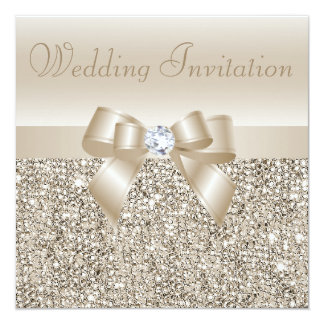 Champagne Sequins, Bow & Diamond Wedding 13 Cm X 13 Cm Square Invitation Card